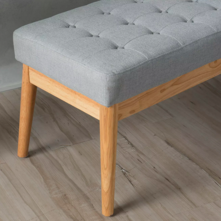 Light wood bench with light grey upholstery