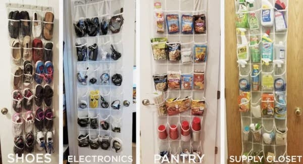 Four side-by-side images of the hanging sleeve with the far left filled with shoes, the middle left filled with electronics, middle right with pantry items, and the far right with cleaning supplies