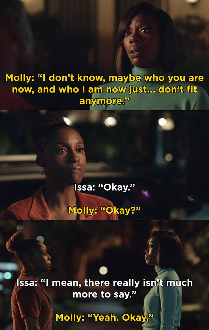 Molly and Issa saying that there isn't much more they can do to fix their friendship