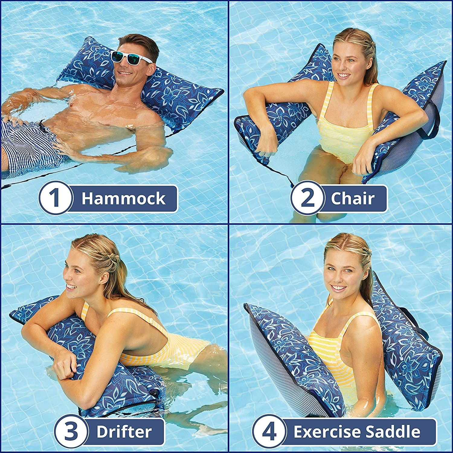 models show four ways to use the hammock: a bed, a chair, something to lean on like driftwood, or an exercise saddle