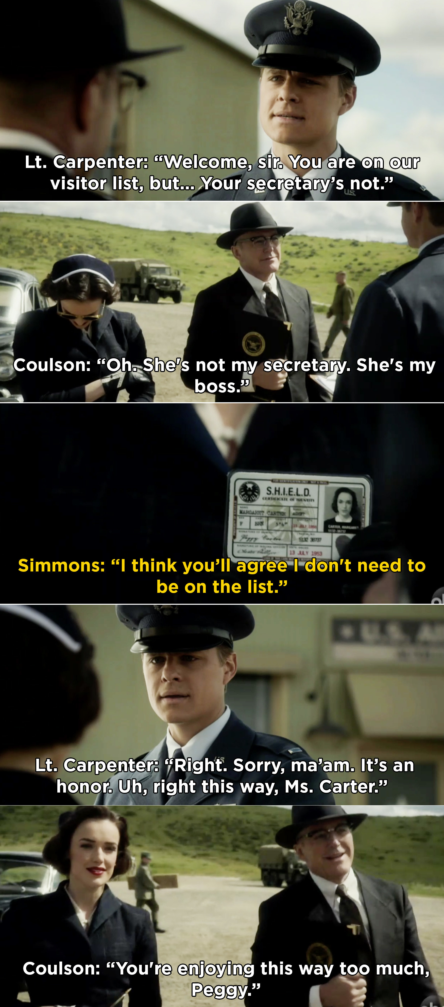 Simmons impersonating Peggy Carter and showing her SHIELD badge