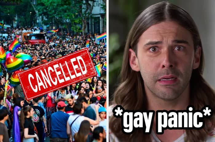 """On left, a pride parade with the word """"cancelled"""" placed over the top. On right, Jonathan Van Ness from """"Queer Eye"""" showing signs of gay panic"""