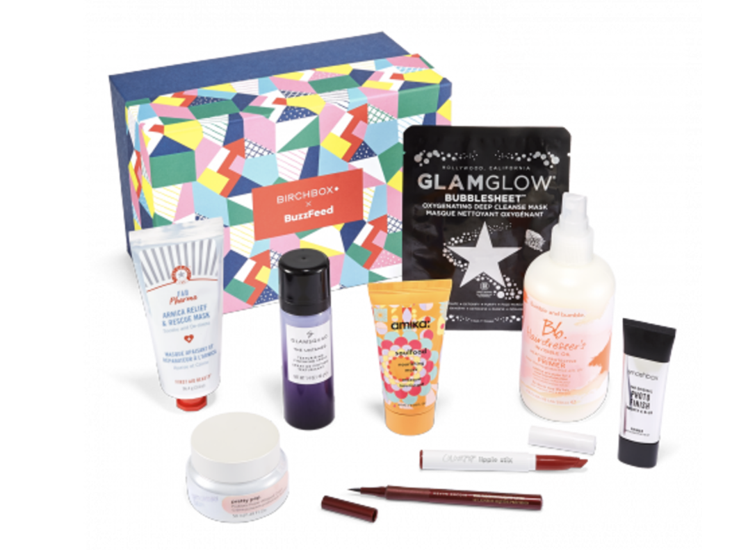 The BuzzFeed x Birchbox Beauty Box with full-sized bottles of First Aid Beauty's Arnica Relief & Rescue Mask, Saturday Skin Pretty Pop Probiotic Power Whipped Cream, and more beauty treats
