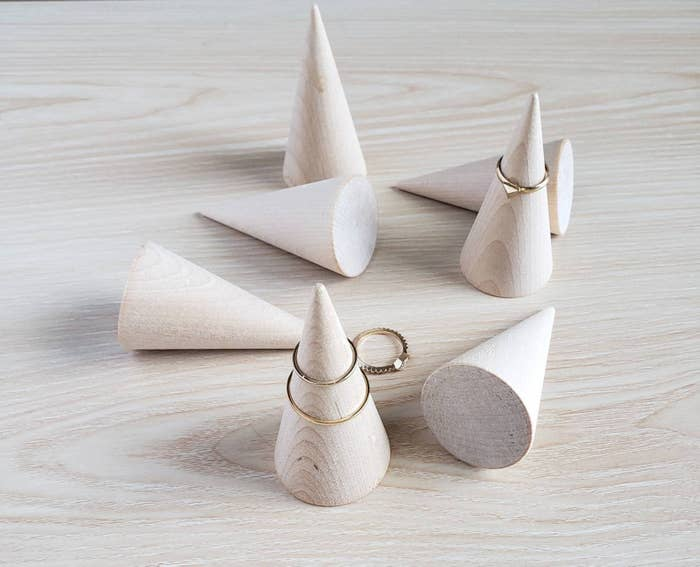 wood cone-shaped ring holders