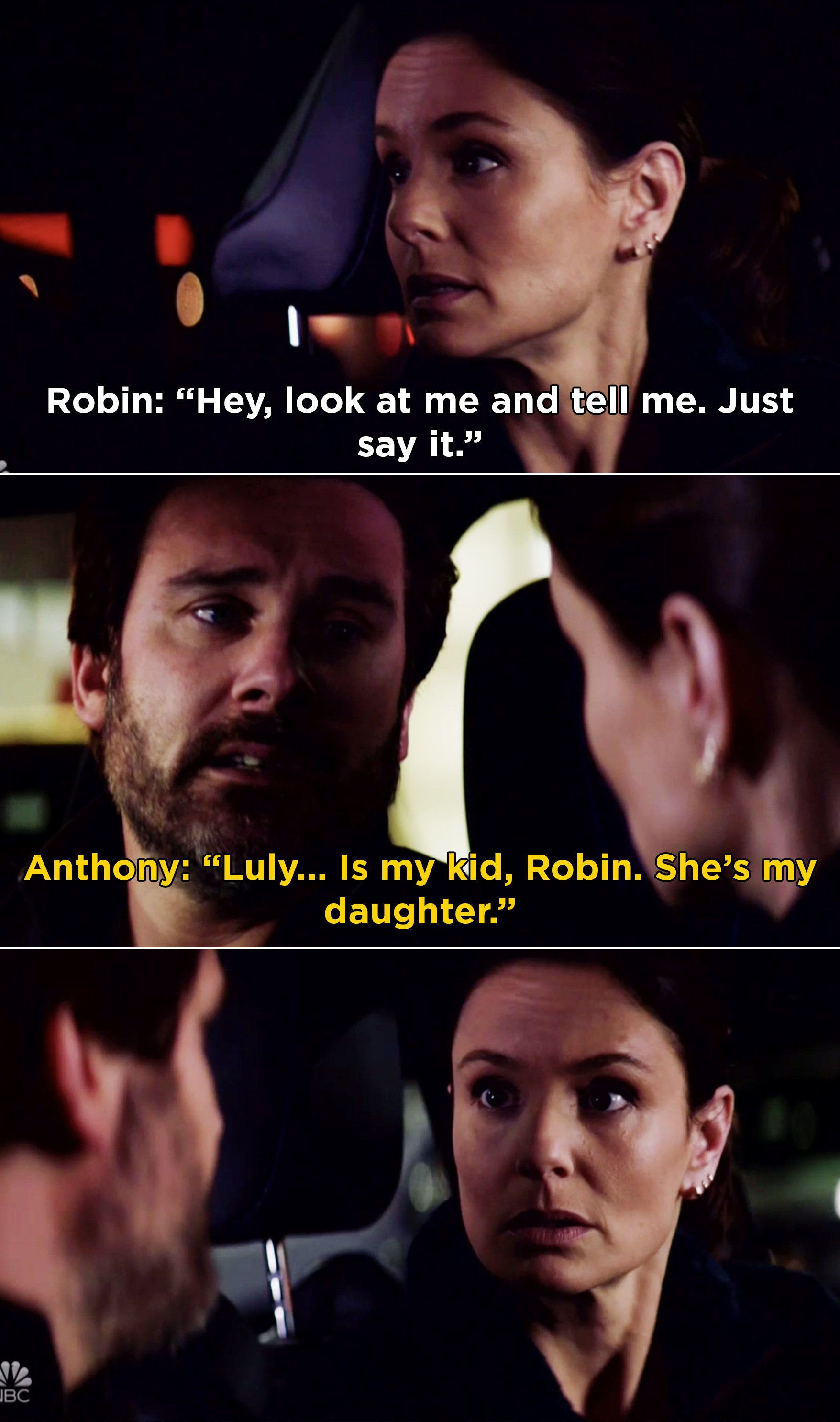 "Anthony sitting in a car with Robin and telling her, ""Luly... Is my kid, Robin. She's my daughter."""