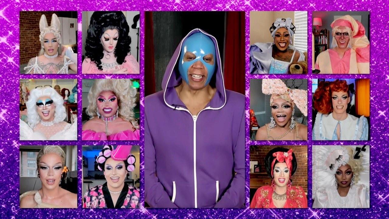 """RuPaul's Drag Race"" queens practicing social distancing via webcam on the season 12 finale"