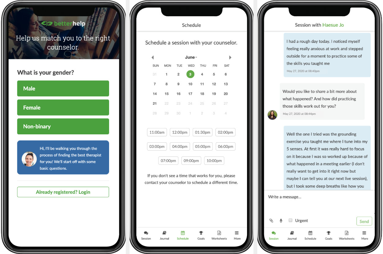 Three phone screens show the questionnaire, a scheduling feature, and a chat via the BetterHelp app