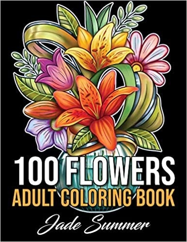 A colouring book with flowers in a vase on the front