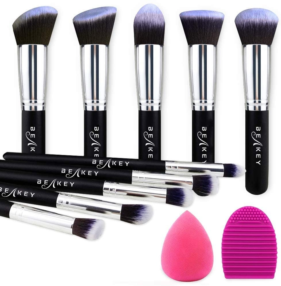 Makeup brushes, a makeup blender, and a brush cleaning pad