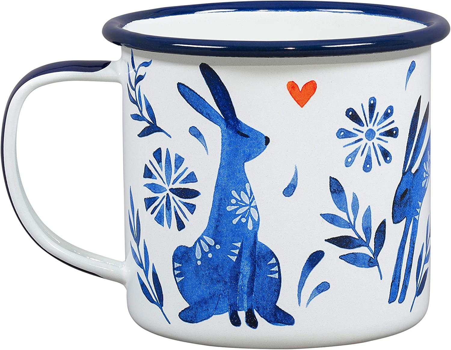 A white mug with stylized blue animals