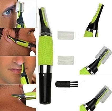 A collage of a man using the trimmer on different parts of his face