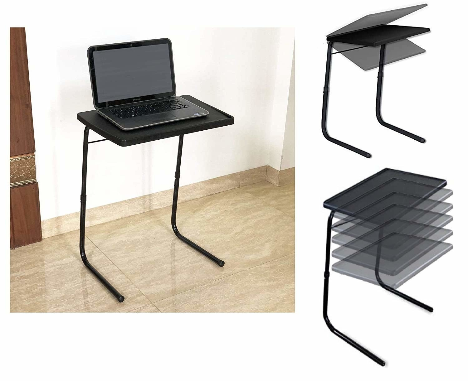 A table with a laptop on it, next to an inset showing the table being folded