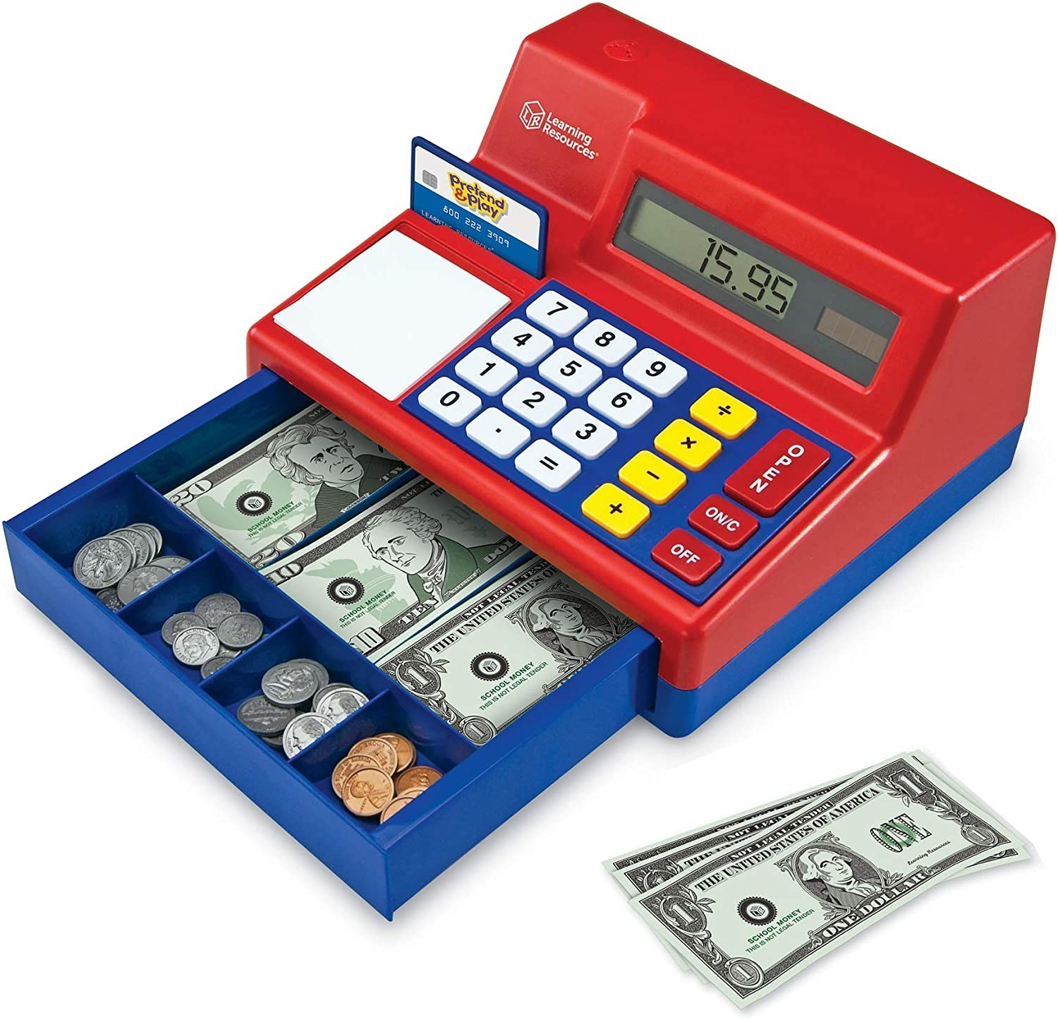 A plastic, primary-colored cash register that's open with play cash and change