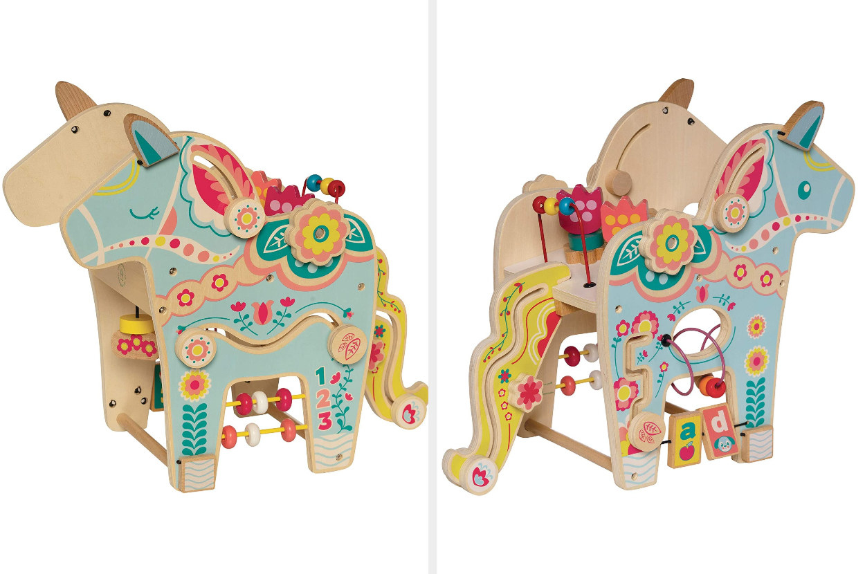 A colorful and detailed right- and left-side view of a wooden pony toy