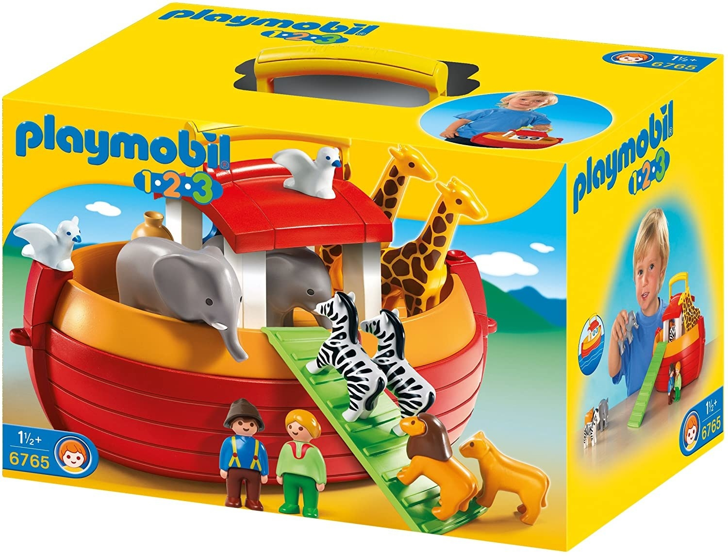 The packaging for a Playmobil ark with lions, elephants, giraffes, zebras, and human figures