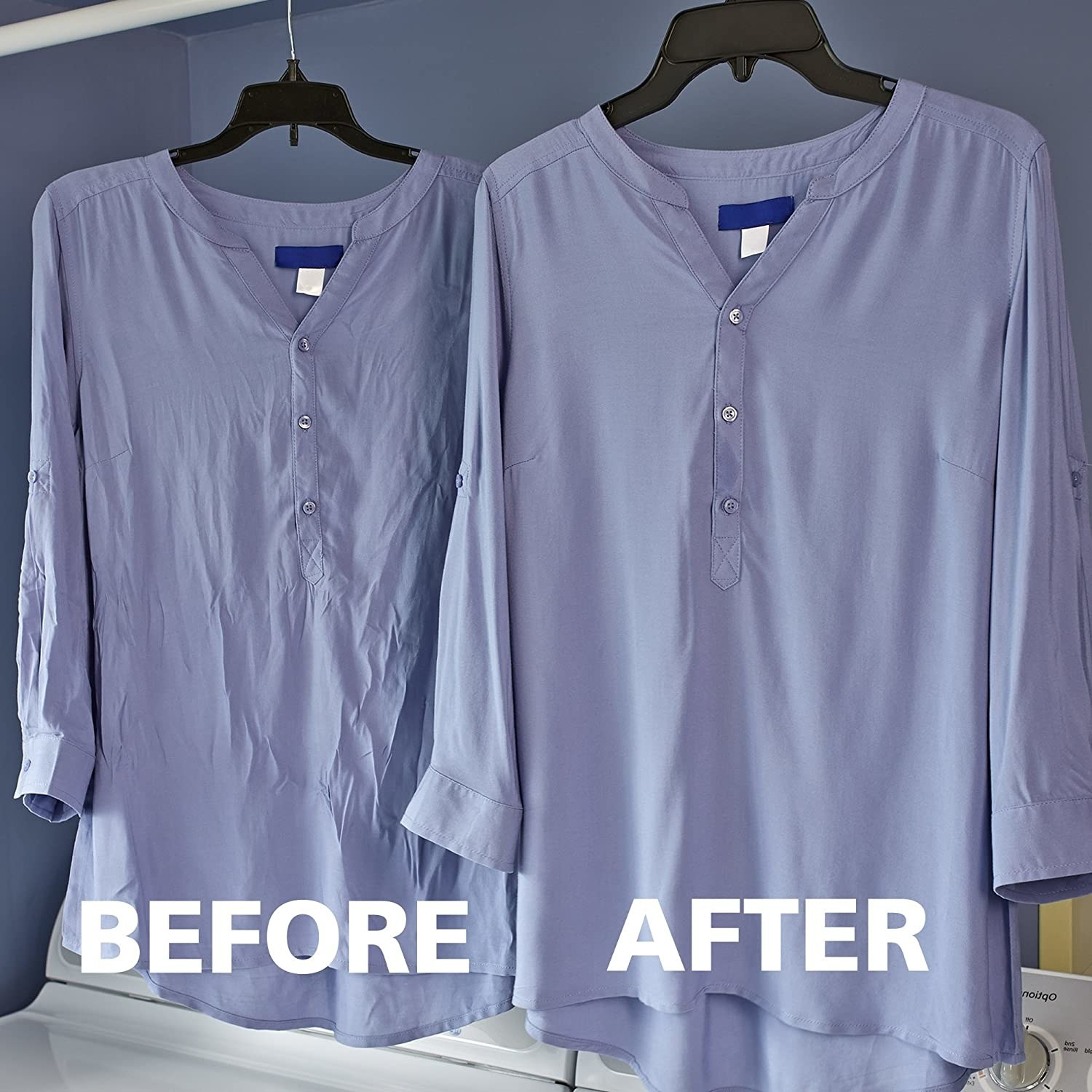 A comparison of before and after using the Woolite sheets on a long-sleeved shirt