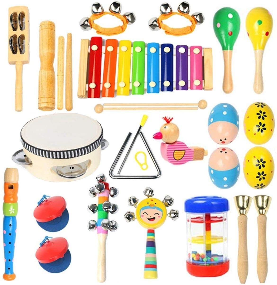 A colorful array of wooden instruments
