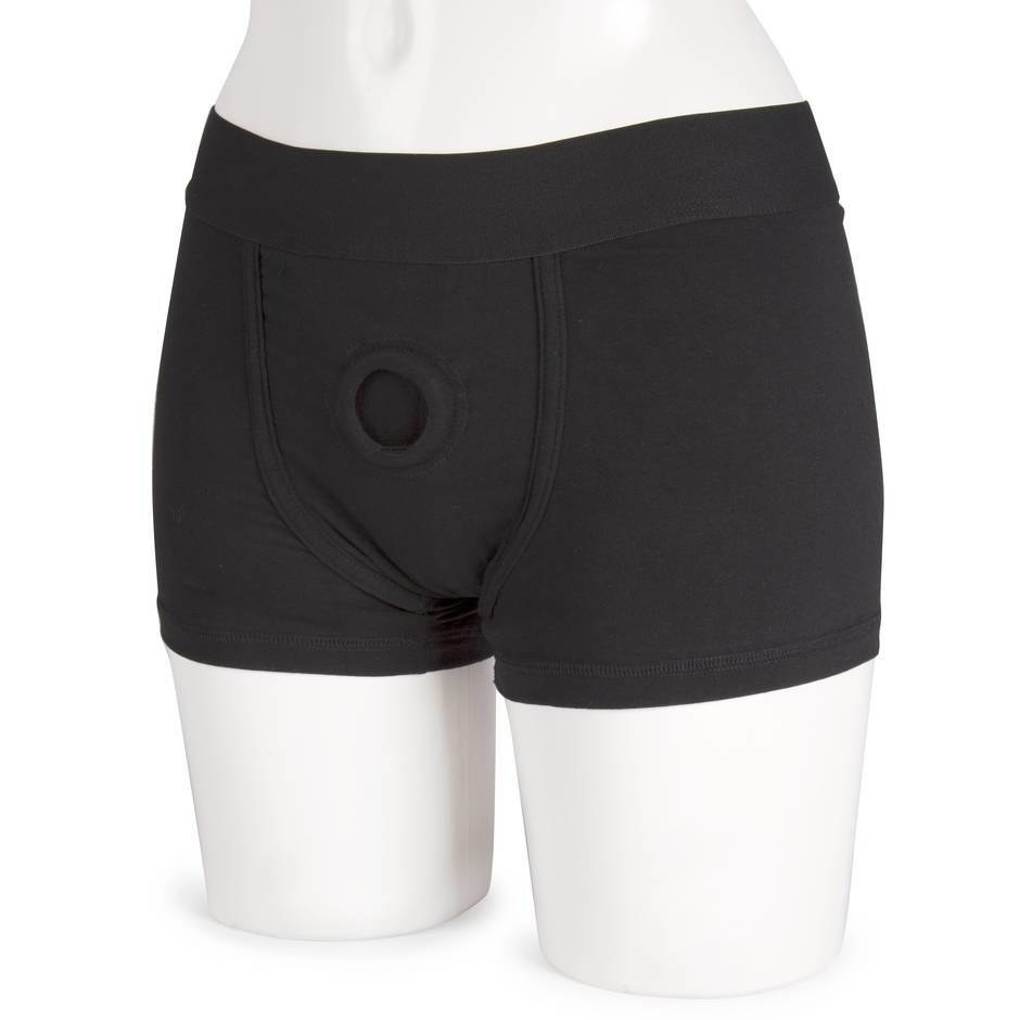 manequin with boxer briefs on that have an O ring for placing a dildo or vibrator