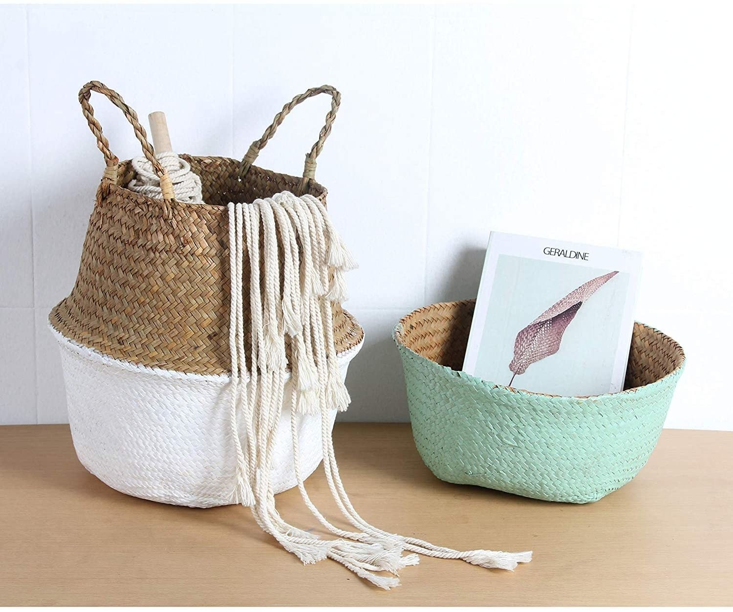 Two baskets showing the ways you can use the baskets — one not folded and one folded in white and teal