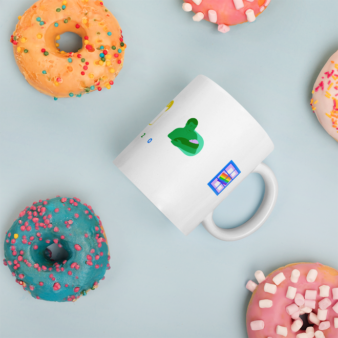 Pride mug with large illustrated letters P R I D E