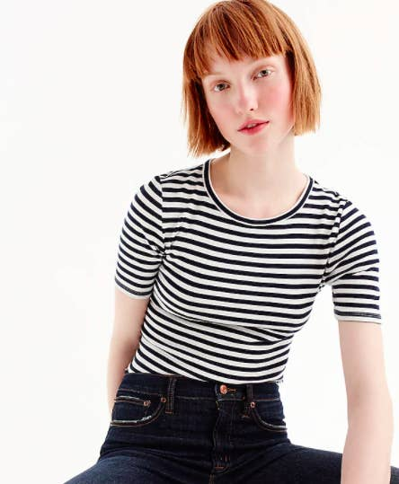Model wearing the J.Crew striped perfect-fit t-shirt