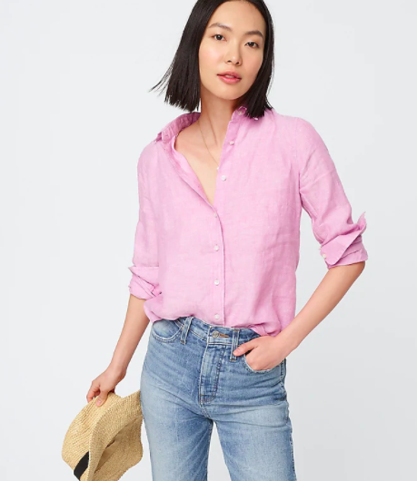 Model wearing the J. Crew Slim Perfect Fit Linen Button Up Shirt in pink colorway