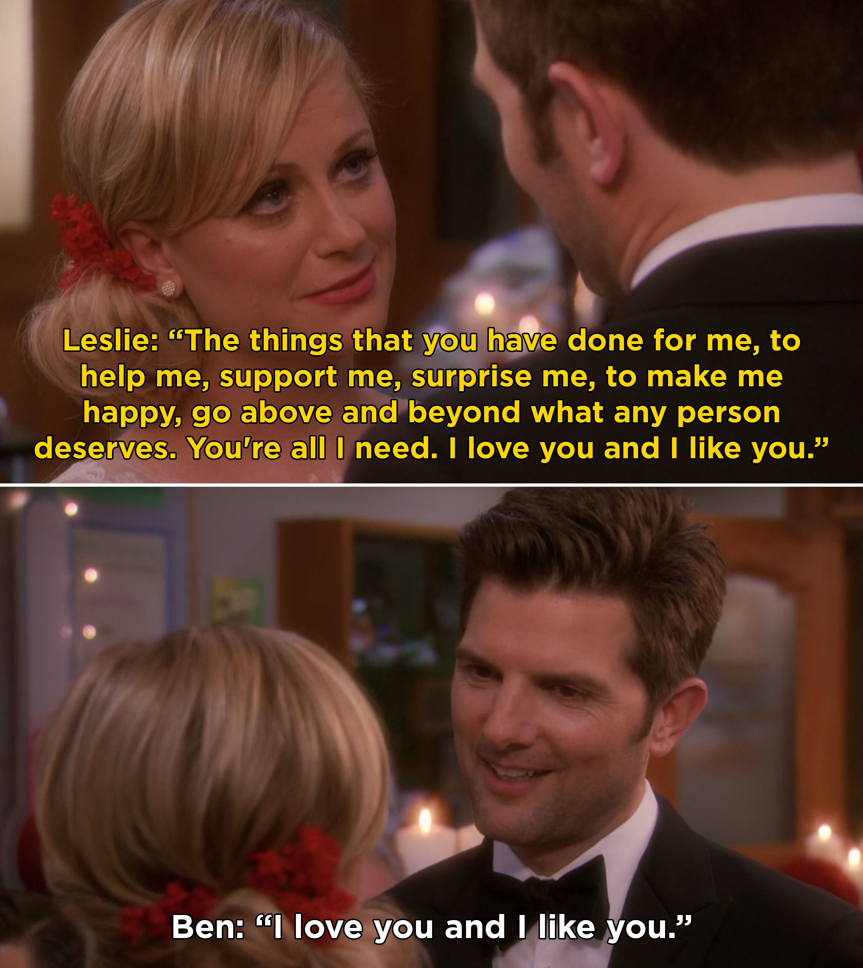 """Leslie and Ben's vows at their wedding and Ben saying, """"I love you and I like you"""""""