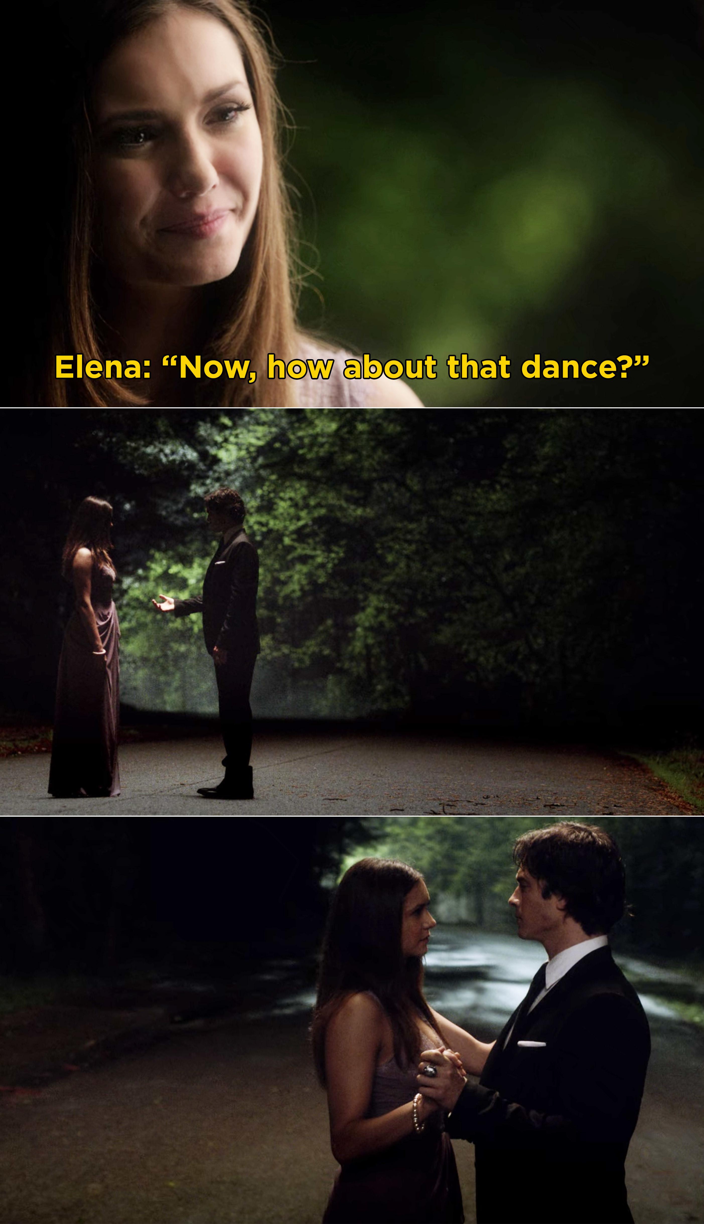 Elena and Damon having their last dance before Elena's coma