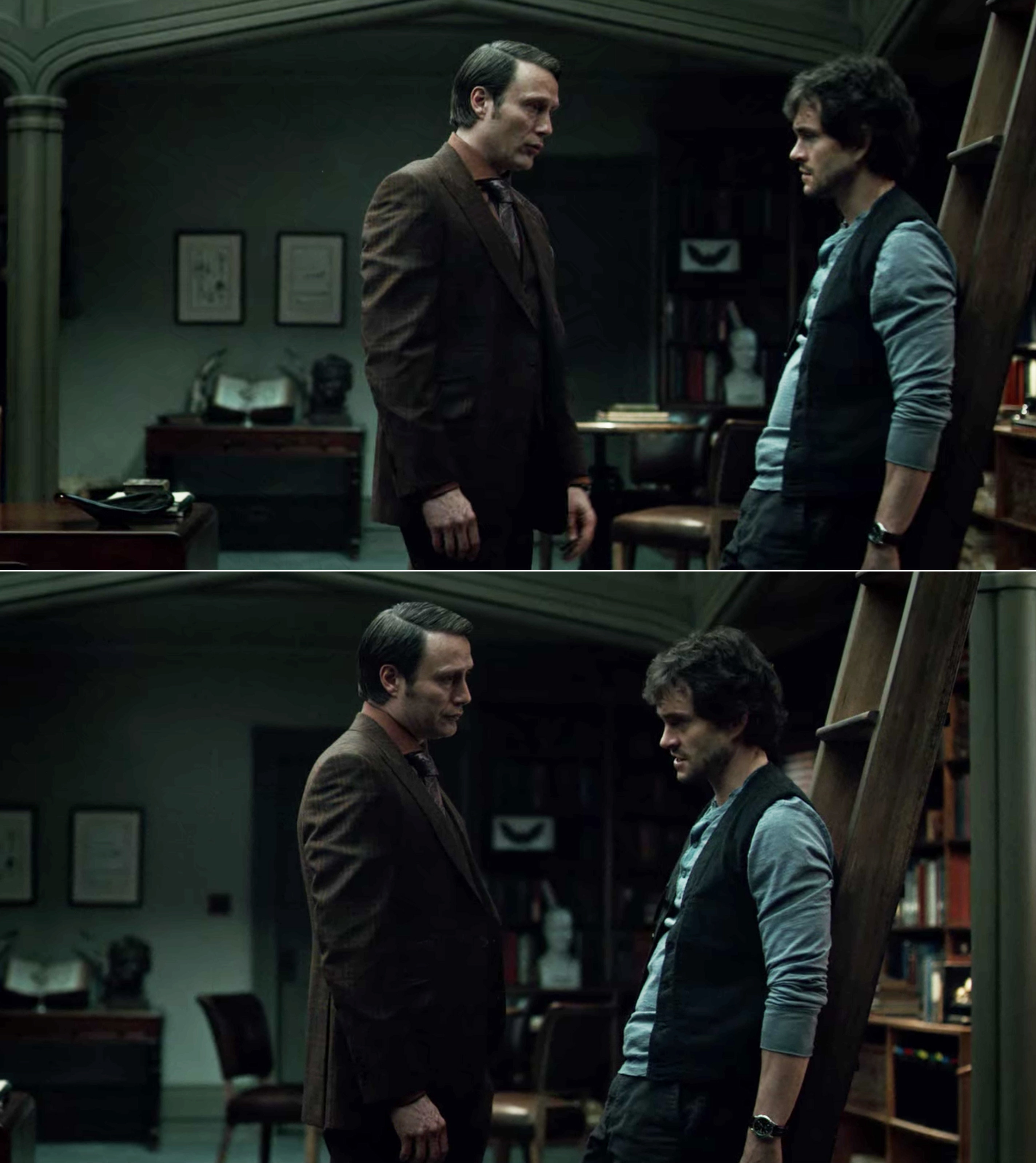 Hannibal and Will looking at each other, while Will leans up against a ladder