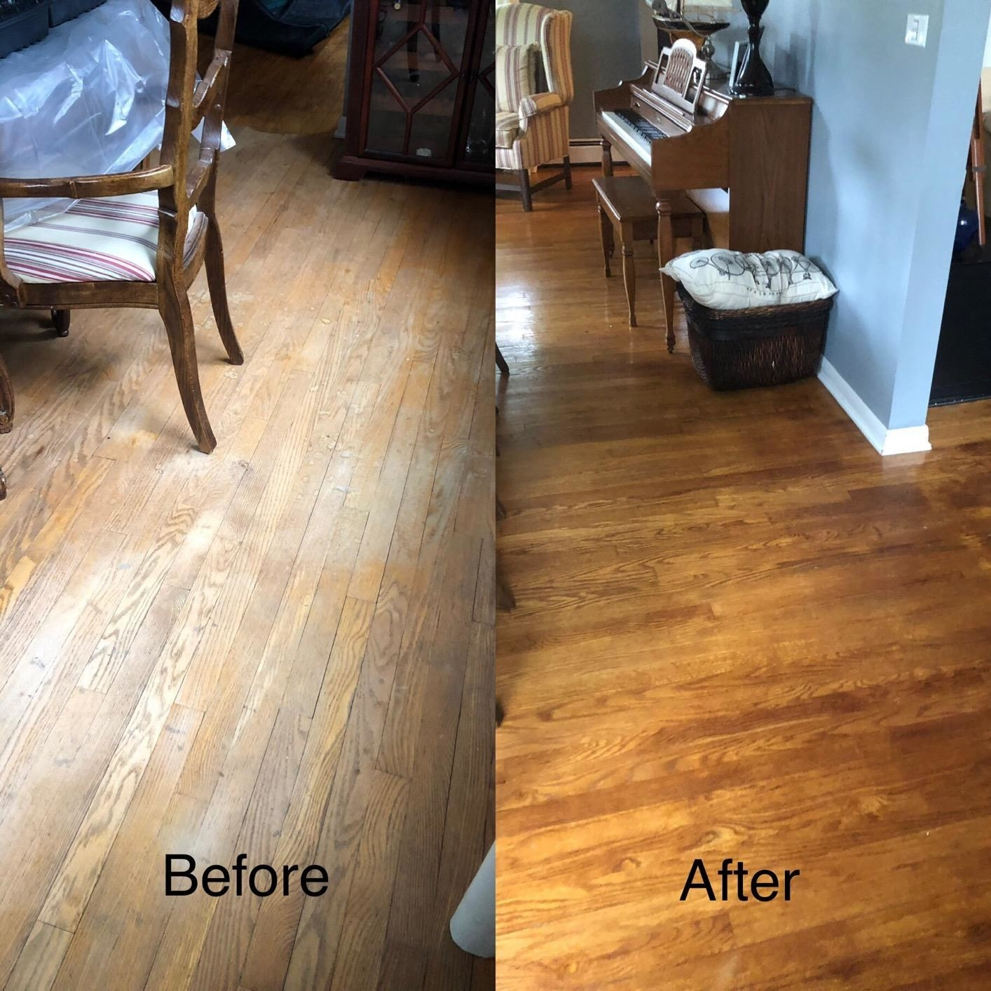 A reviewer showing previously washed out floors looking warm-toned and cleaner after using the product on them