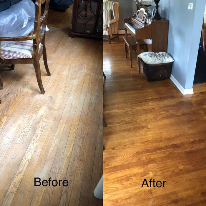 A reviewer showing previously washed out floors looking brighter and cleaner after using the product on them