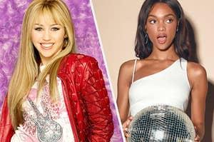 Hannah Montana and a model wearing a Lulus dress