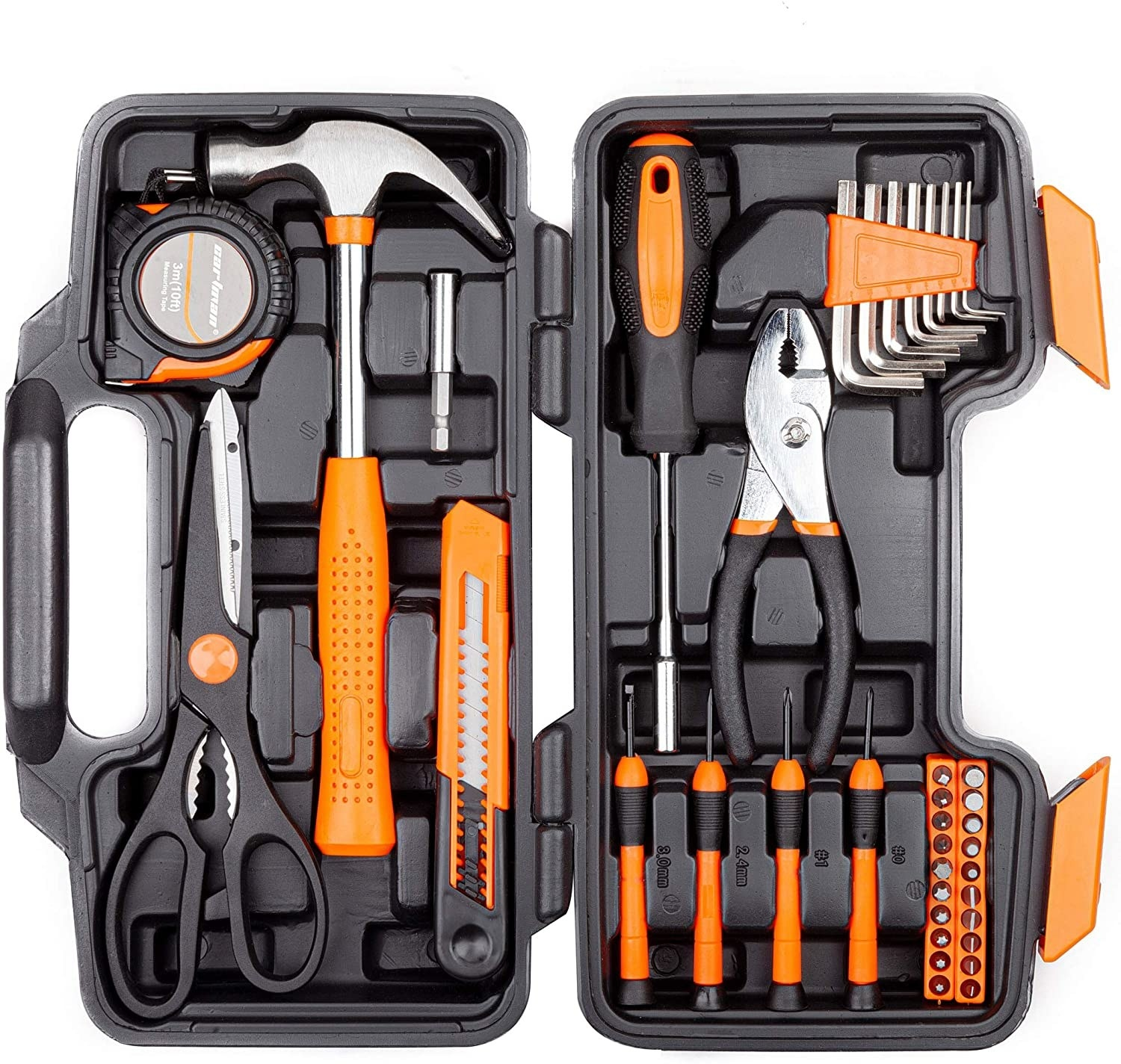 The open tool kit showing all the tools locked in place