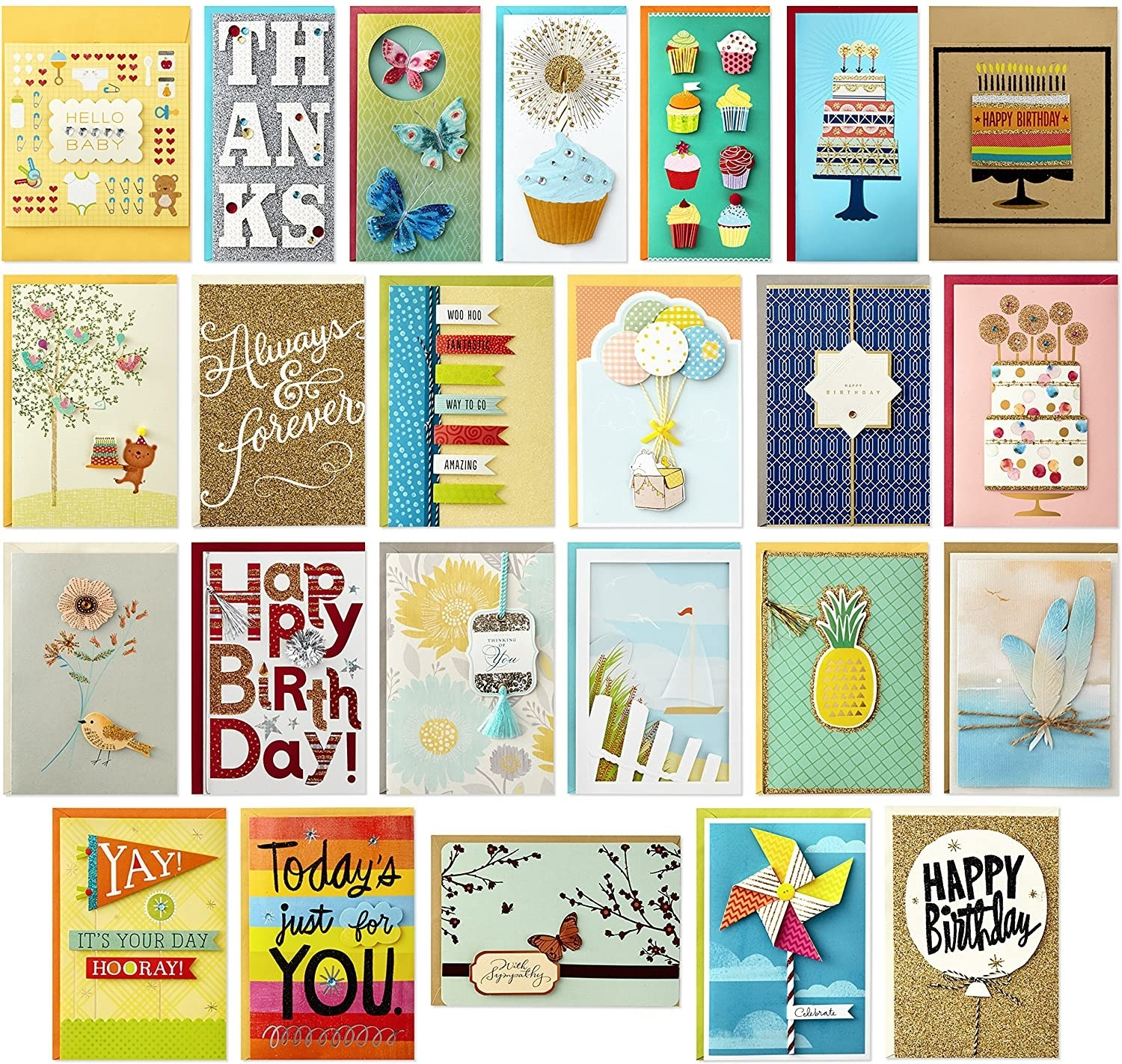 A medley of greeting cards with various colours, textures, and messages on their fronts