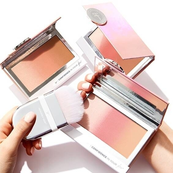 Three of the small palettes, which each have three shades in them blending together in an ombre effect. They come in a compact with a mirror inside