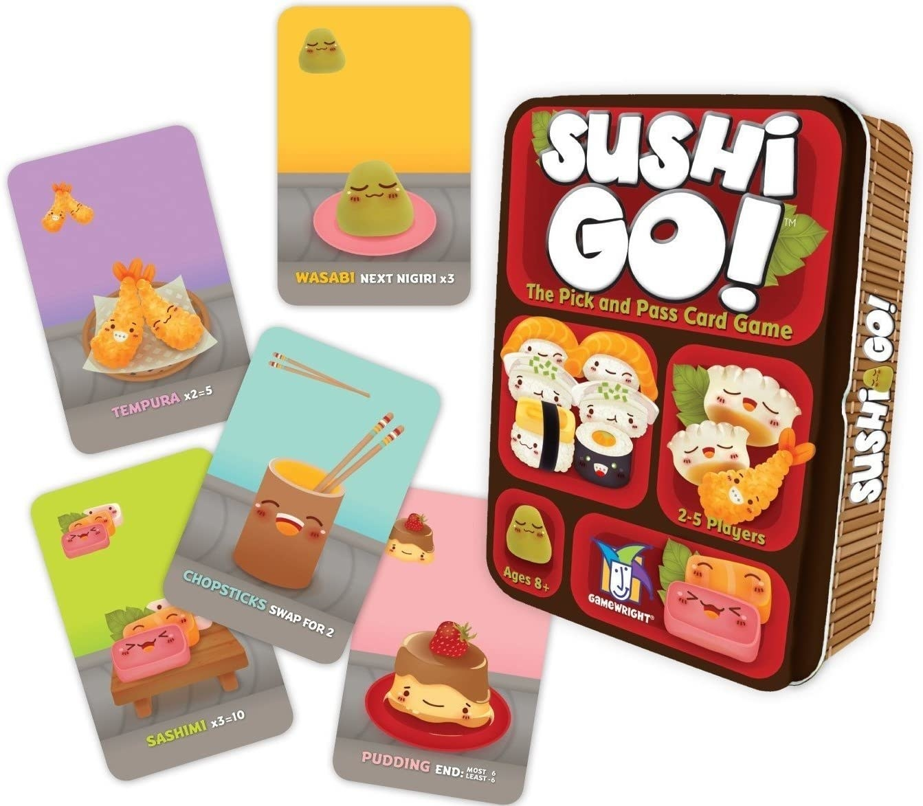 A handful of cards with wasabi, pudding, chopsticks, sashimi, and other foods on them placed beside tin packaging that's in the style of a bento box