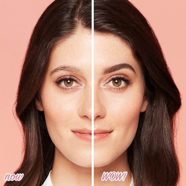 A before-and-after photo showing a model whose left brow looks sparse and wispy, but whose right brow looks full and filled-in