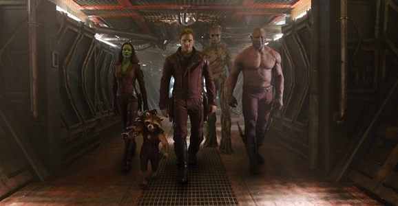 The Guardians (from left to right: Zoey Saldana, Bradley Cooper, Chris Pratt, Vin Diesel, Dave Bautista) prepare to do what they do best: Guard the galaxy.