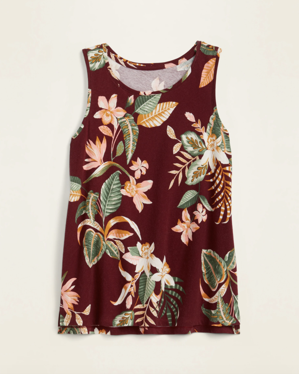 The floral tank top in burgundy