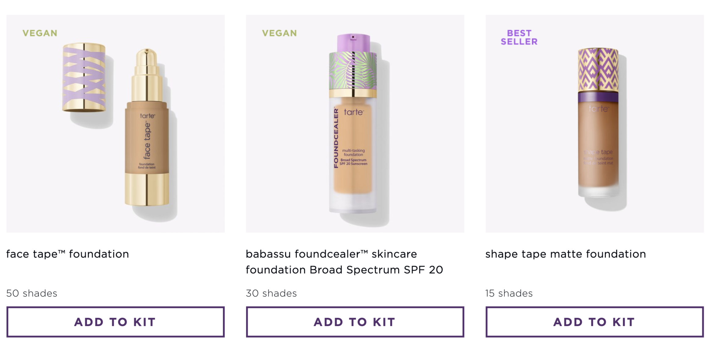 Screenshot of Tarte's build your own kit with a few foundation options