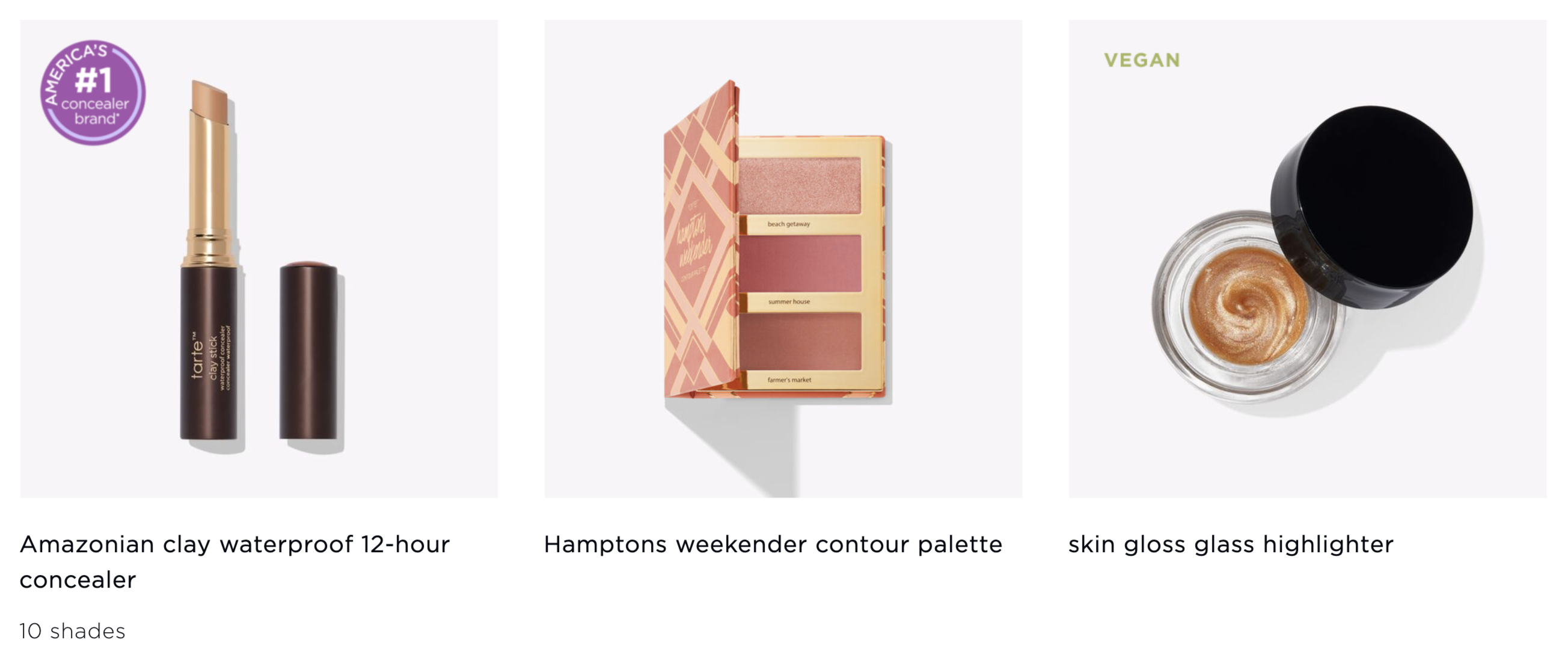 Screenshot of Tarte's build your own kit with a few blush, concealer, and highlighter options