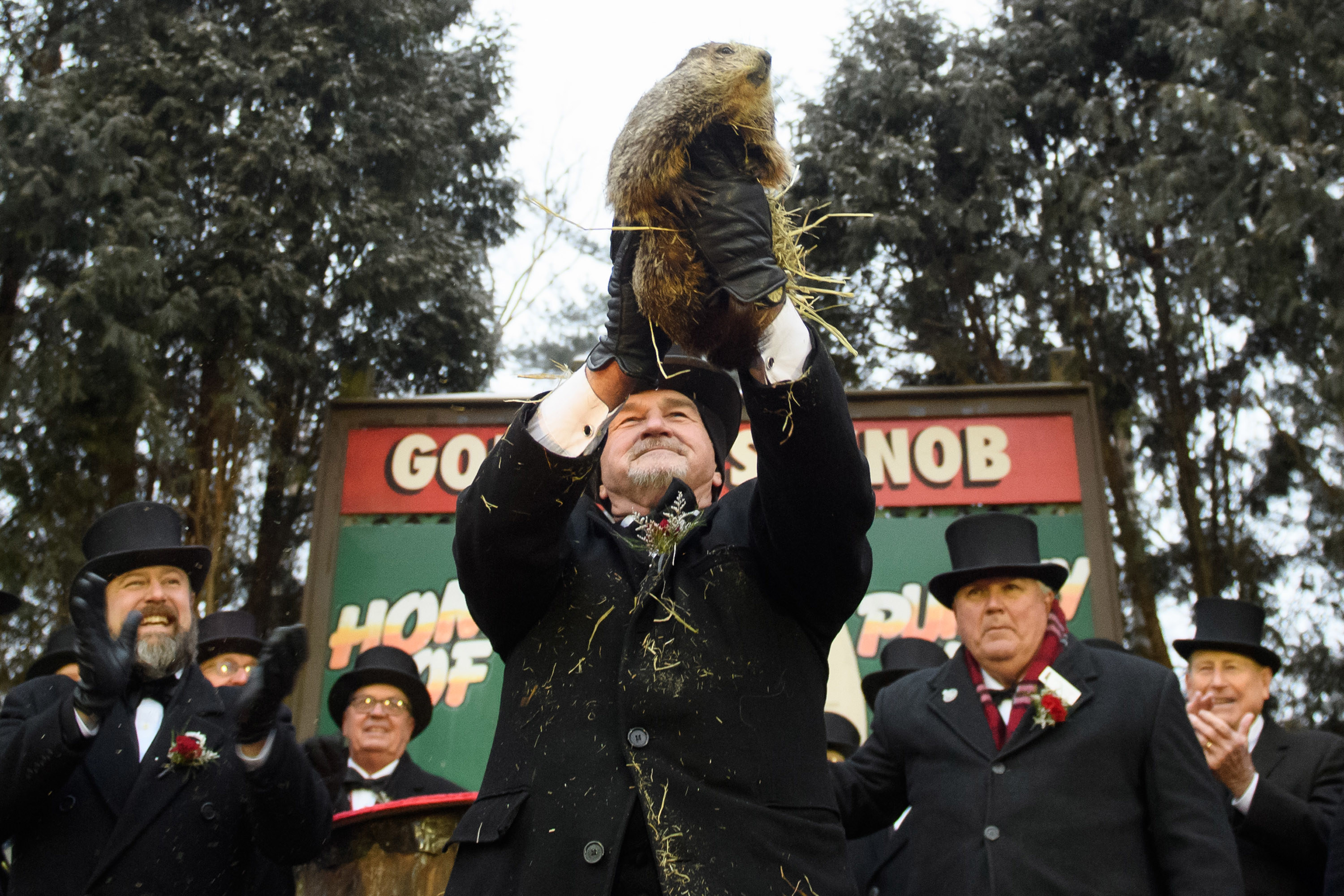 old man holding up a groundhog while men in top hats cheer in the background
