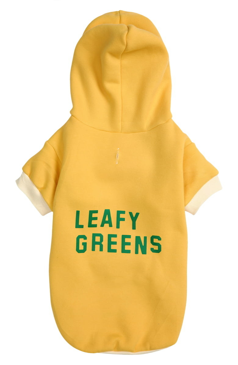 """Yellow dog sweatshirt that says """"Leafy Greens"""" in green typeface"""