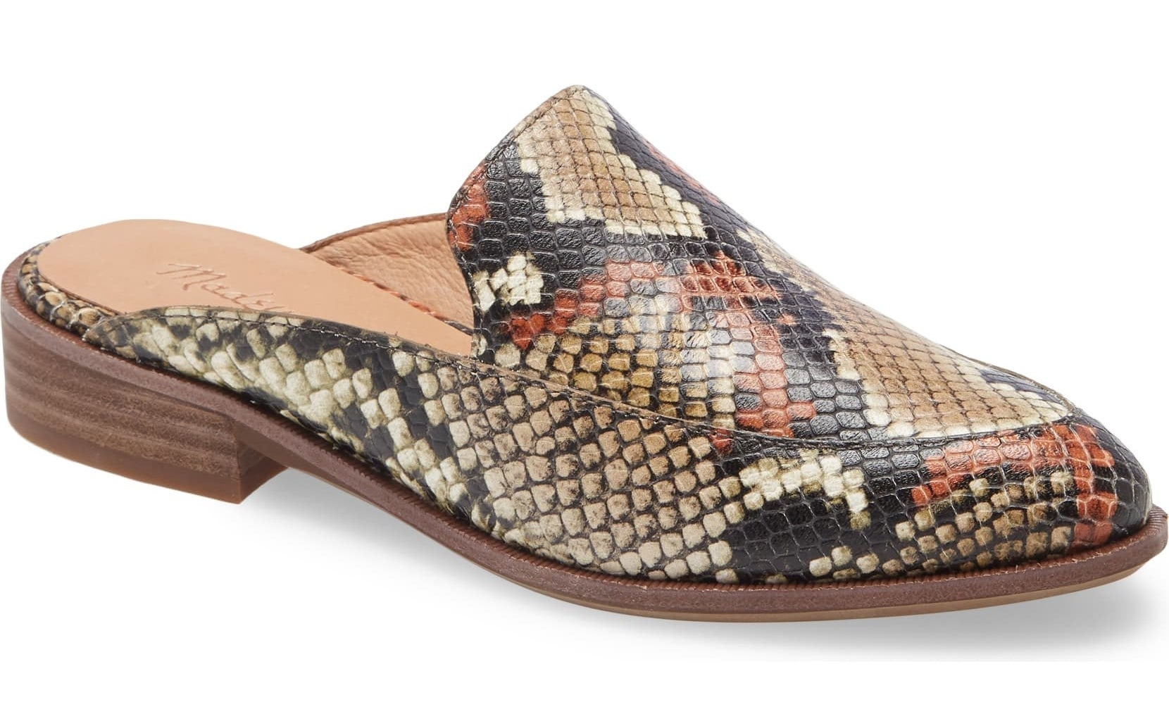 Snake-skin style mules from side