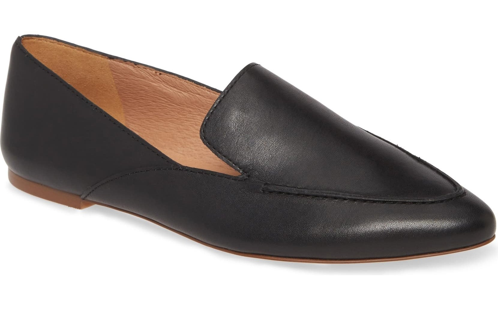 Black flats with light brown inside