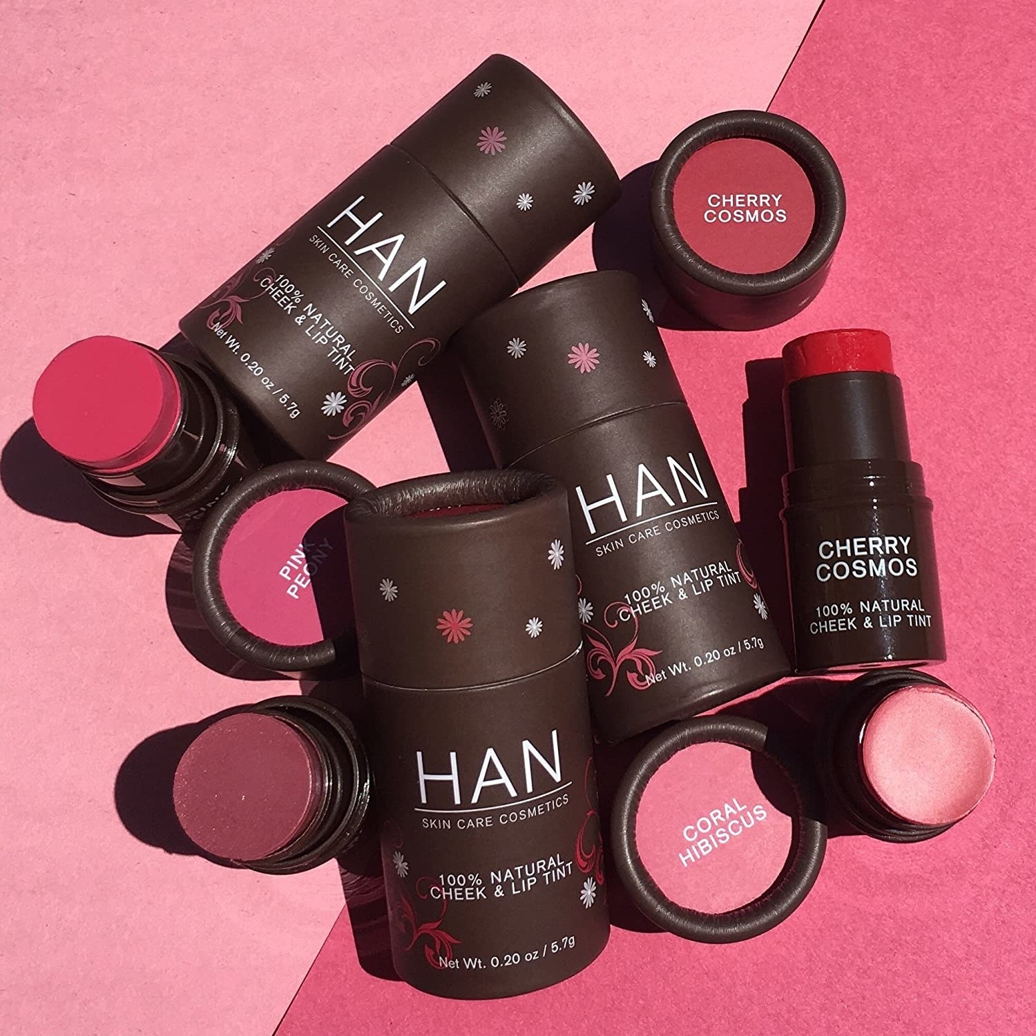 A photo of a variety of the cheek and lip tints scattered about.