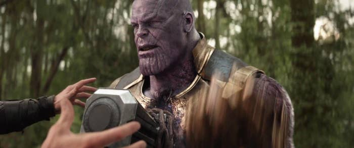 Thanos right before he snaps in Avengers: Infinity War.