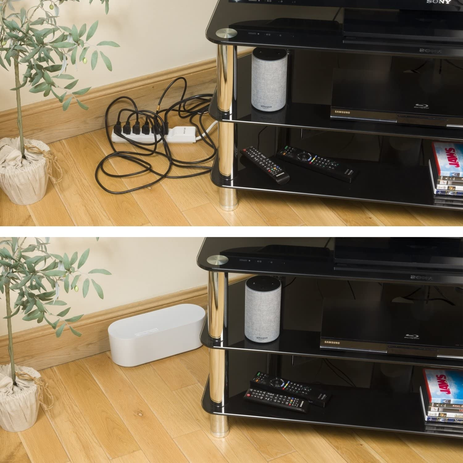 A before image of a bunch of cords plugged into a power bar next to a television stand and an after image of the cords inside a small rectangular box