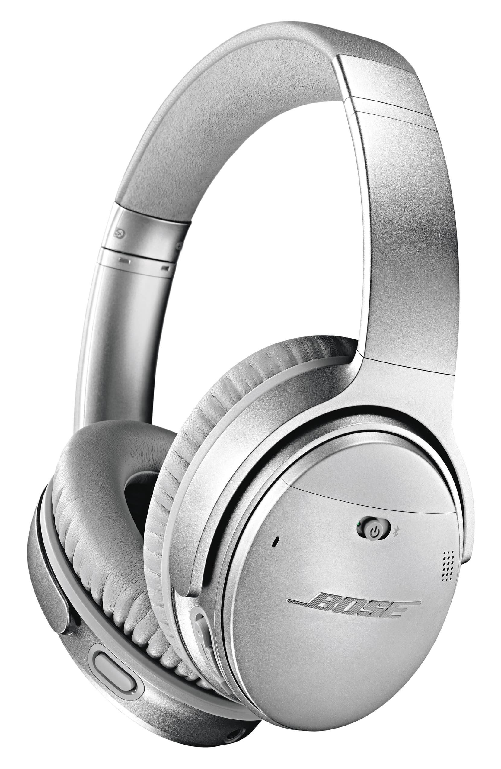 Silver Bose over-ear bluetooth headphones