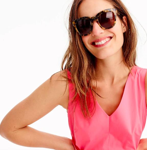 Model wearing J. Crew Cabana Oversized Sunglasses in caramel tort colorway